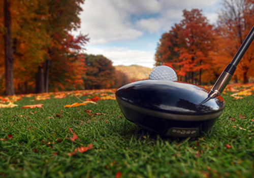 Golf driver on tee lined up with ball during the fall.